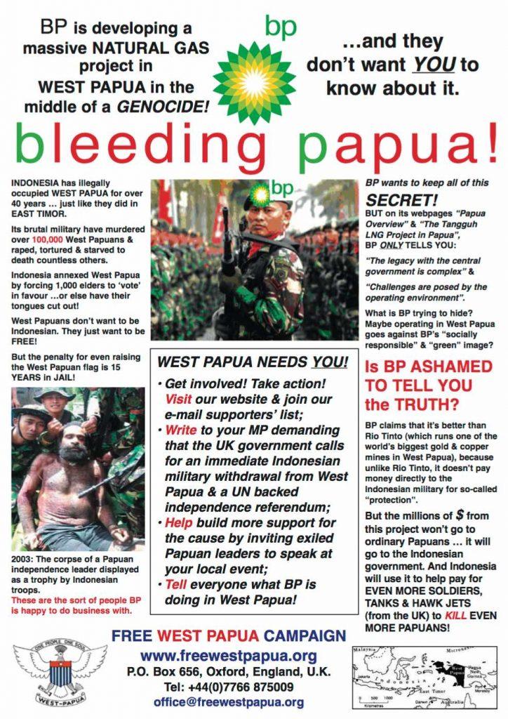 free West papua Campaign boycott BP Leaflet
