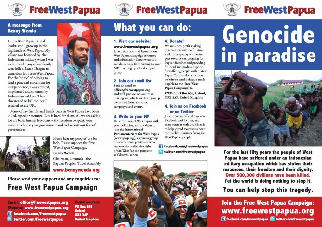 free West papua Campaign Leaflet resources benny wenda