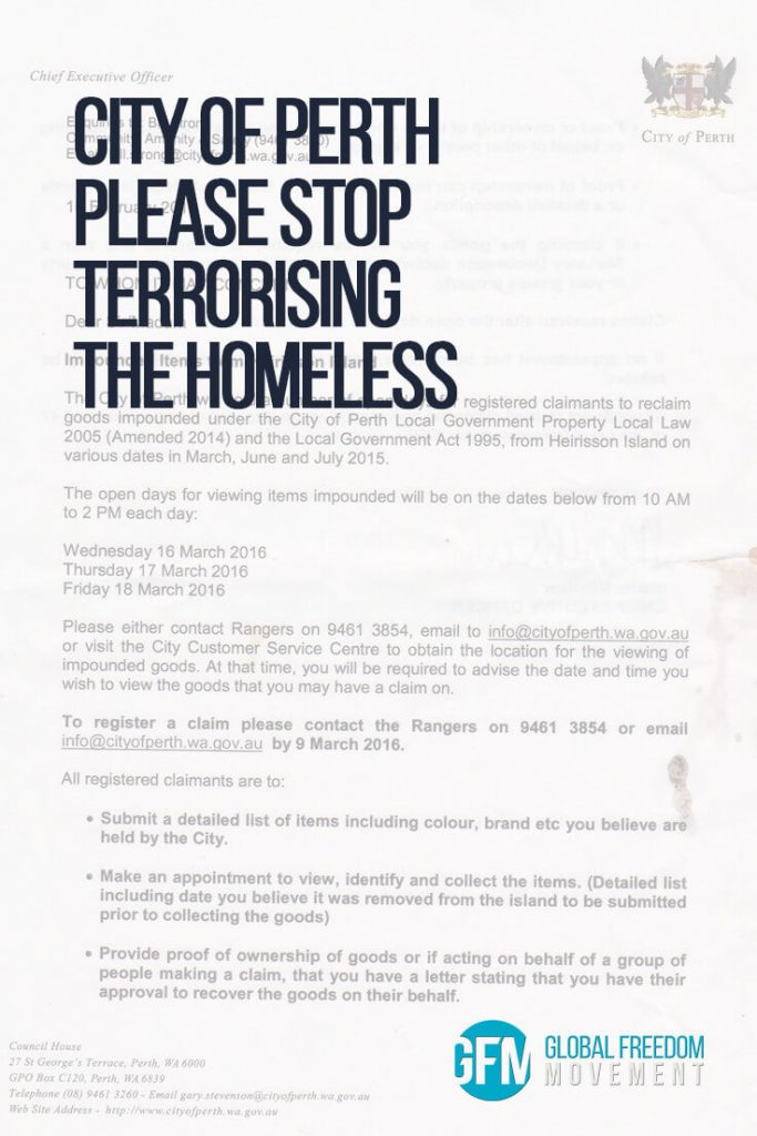 City of Perth - Please Stop Terrorising The Homeless | Global Freedom Movement