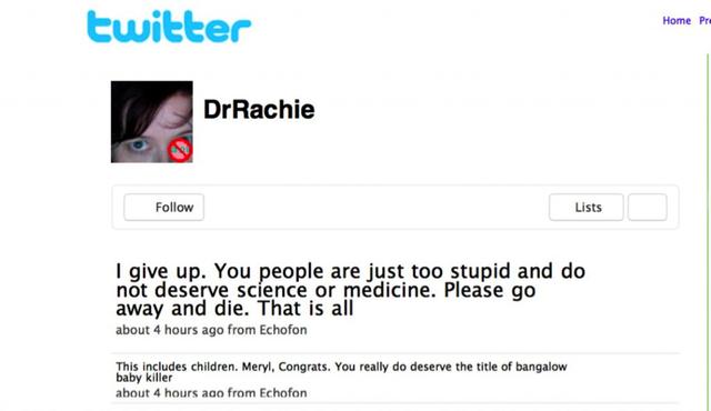 vaccine pushers rachael-dunlop-abusive-tweet